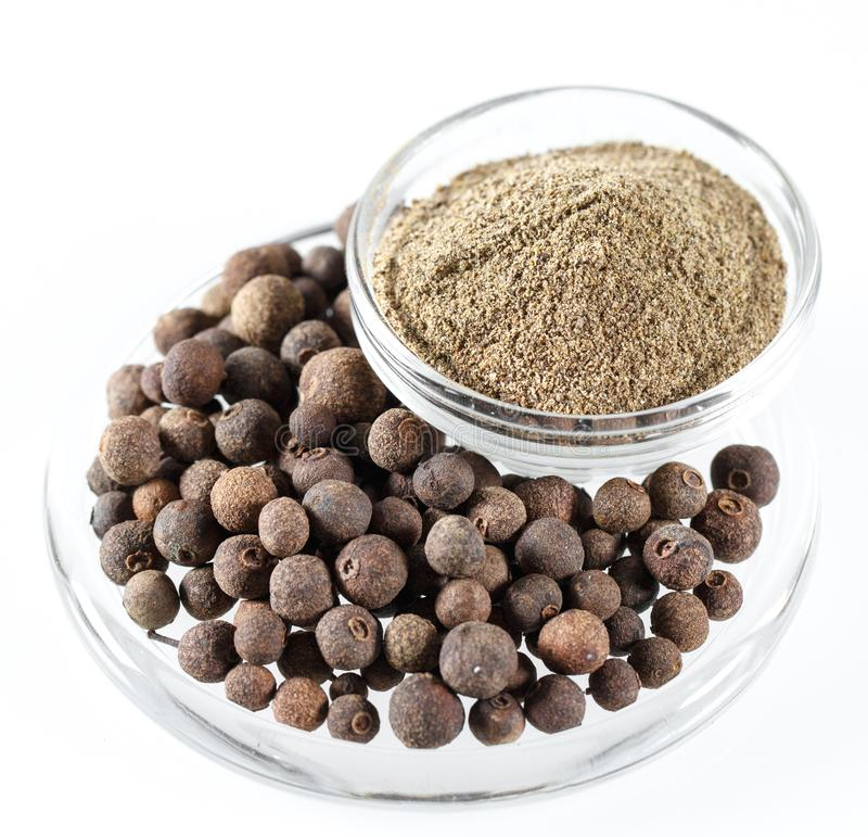 Ground Black Pepper Isolated on the white background. stock images