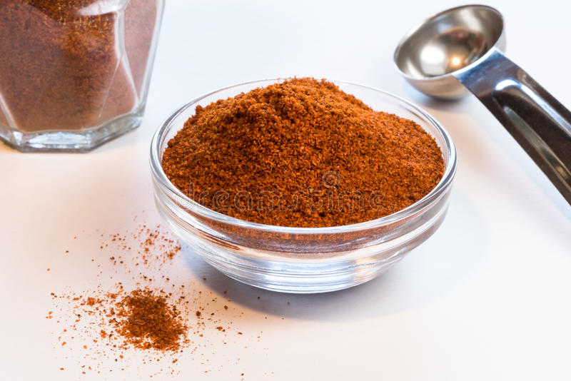 Ground Cayenne in an Ingredient Bowl royalty free stock photo