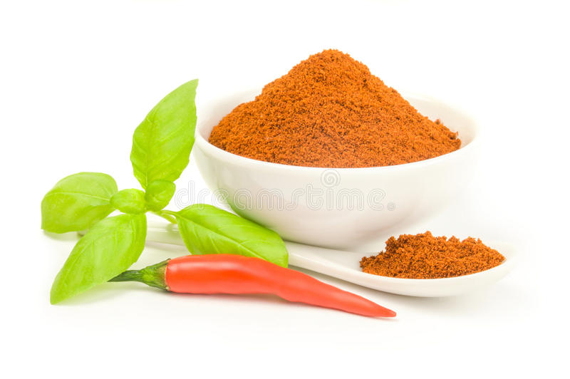Ground cayenne pepper isolated on a white background cutout. Cayenne pepper spice on a white background. Clipping path royalty free stock photography