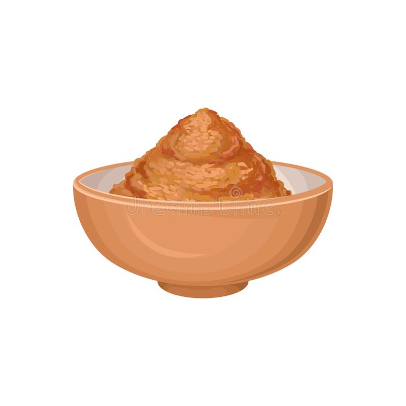 Ground cinnamon in brown ceramic bowl. Aromatic seasoning. Spicy condiment used in sweet and savory foods. Cuisine theme. Graphic decorative element. Detailed stock illustration