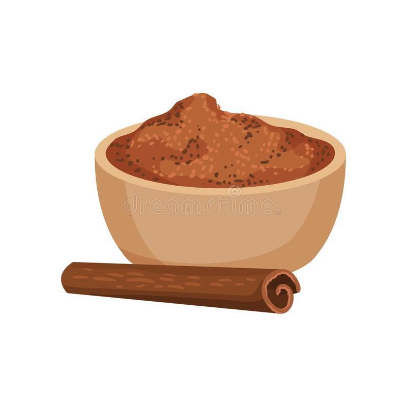 Ground cinnamon in ceramic bowl and one rolled stick. Fragrant spice. Aromatic condiment. Flat vector design. Ground cinnamon in ceramic bowl and one rolled stock illustration