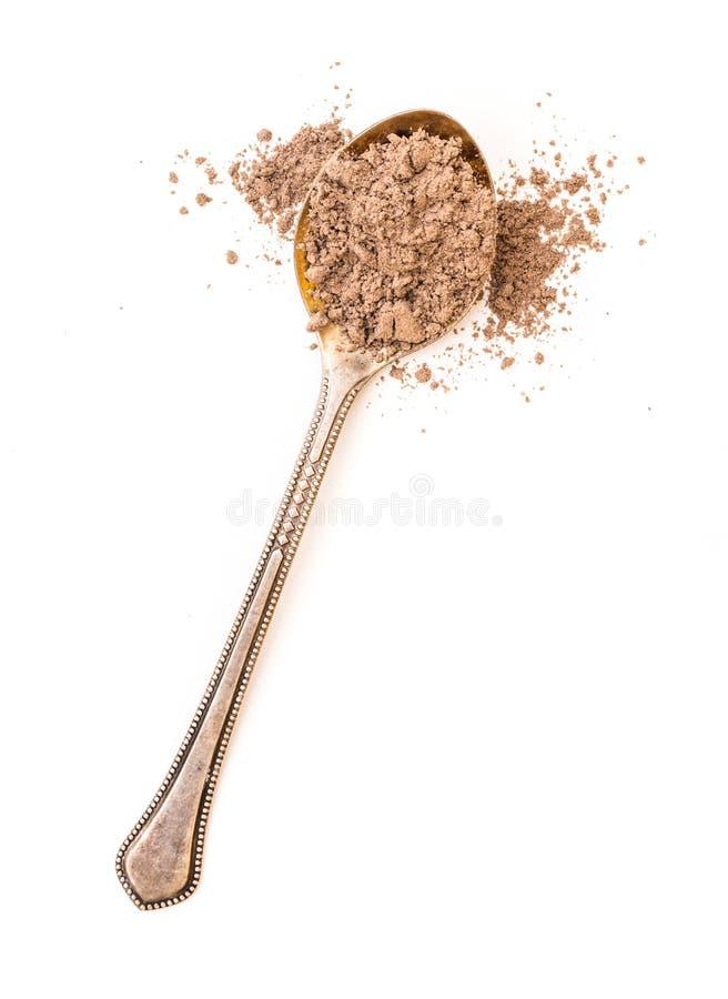 Ground cinnamon powder in a spoon stock photos