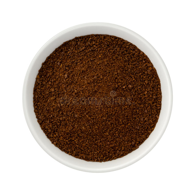 Ground Coffee in a Ceramic Bowl royalty free stock photo