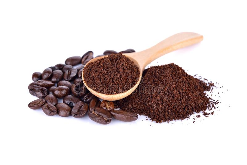 Ground coffee and roasted coffee beans arabica strong blend on w. Ground coffee and roasted coffee beans arabica strong blend on a white background stock photos