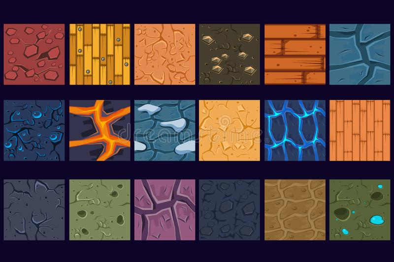 Ground concrete stone texture patterns set vector Illustrations. Web design royalty free illustration