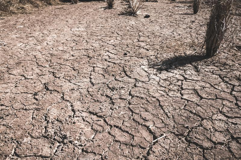 The ground cracks caused by drought caused by water shortages royalty free stock photos