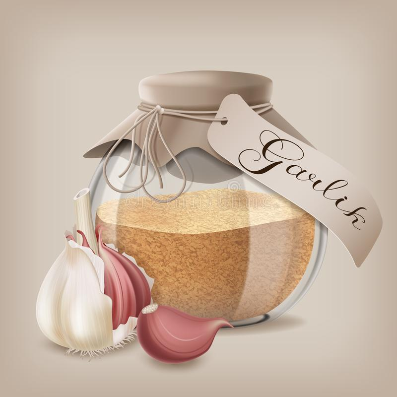 Ground dry garlic in a glass jar with whole garlic. Vector illustration stock illustration