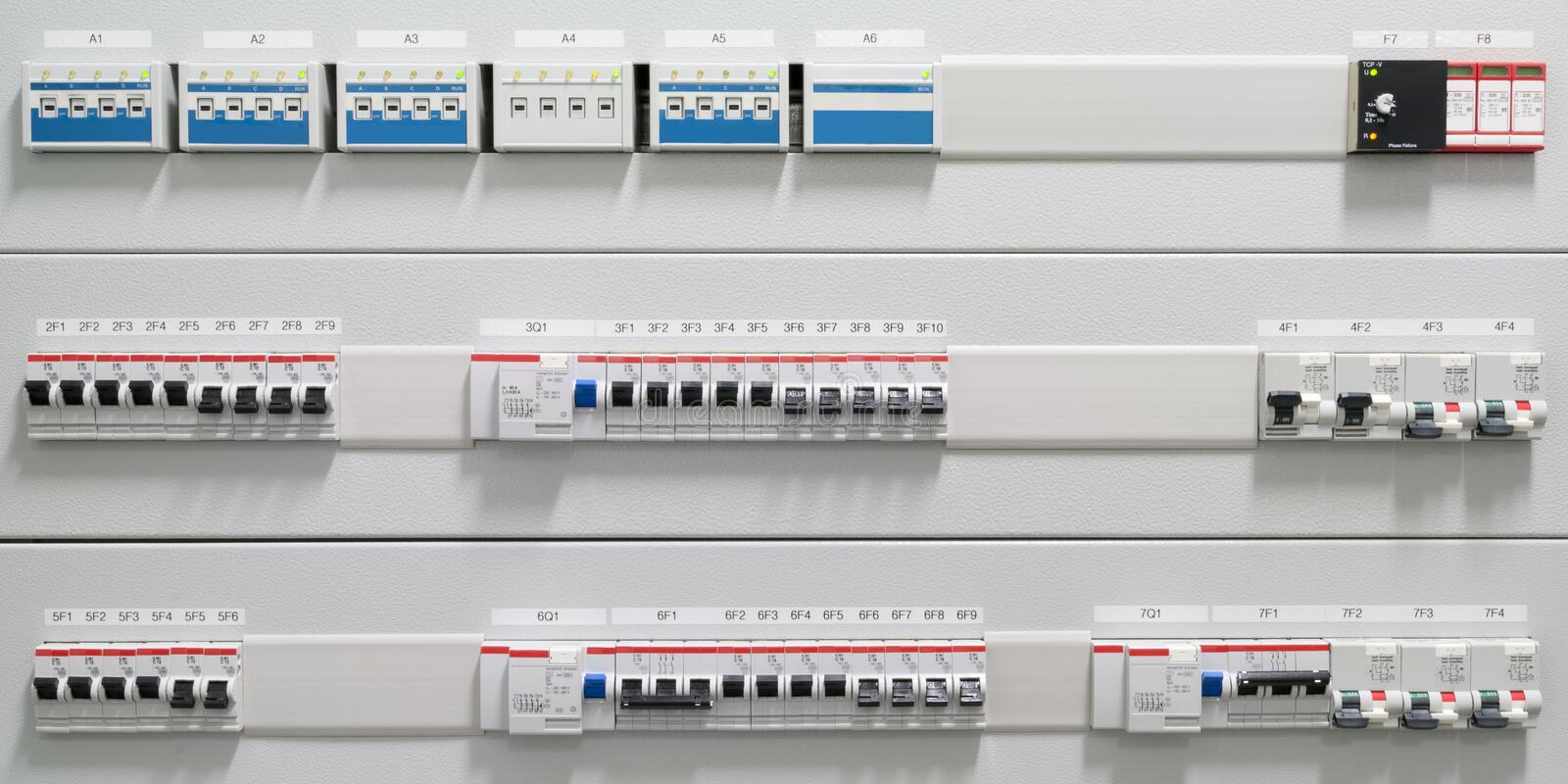 Ground fault circuit interrupter. Some black switches for ground fault circuit interrupter on covered bars royalty free stock image