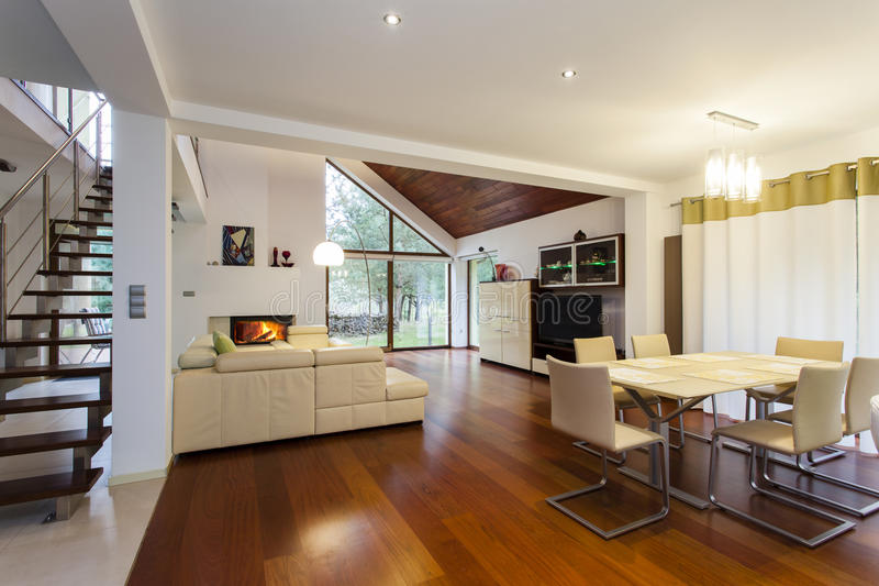 Ground floor of modern house stock images