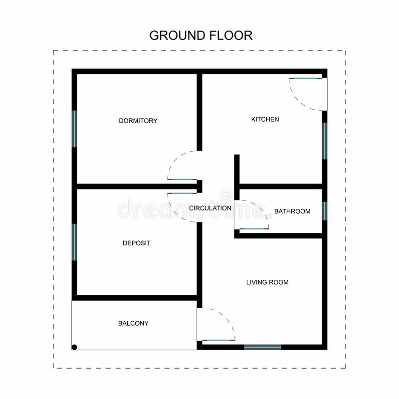 Ground floor with names of spaces. Architectural and engineering design vector illustration