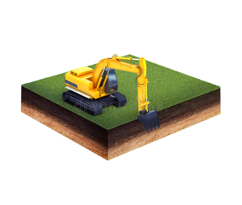 Ground with grass and excavator. 3d illustration of cross section of ground with grass and excavator isolated on white stock illustration