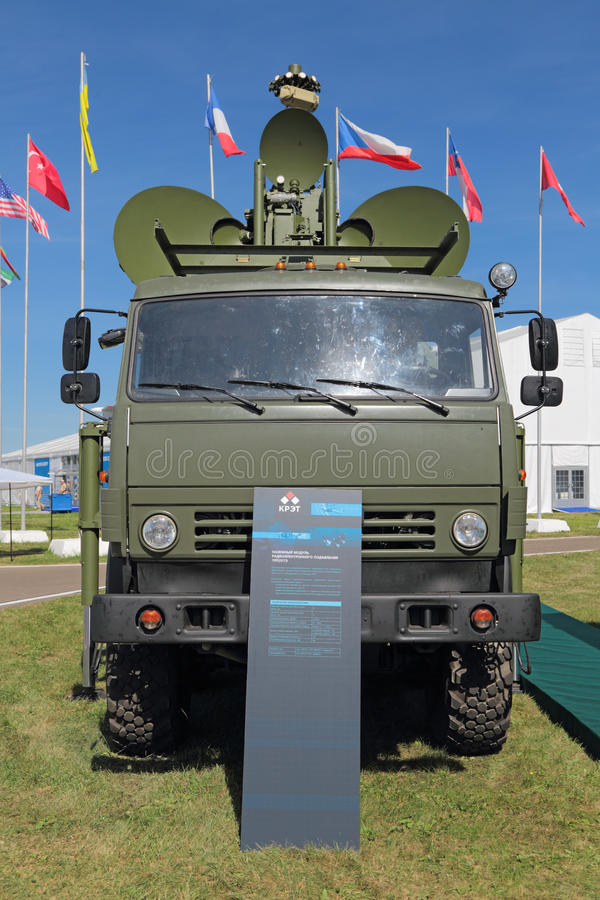 Ground jamming the radar of enemy. ZHUKOVSKY, MOSCOW REGION, RUSSIA - AUG 24, 2015: Ground jamming the radar of enemy air-based at the International Aviation and royalty free stock image