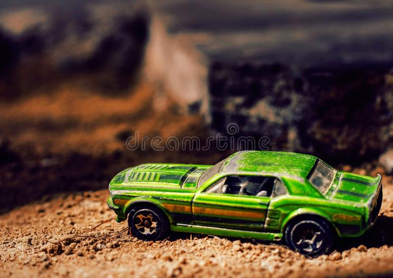 Toy car macro photography stock image