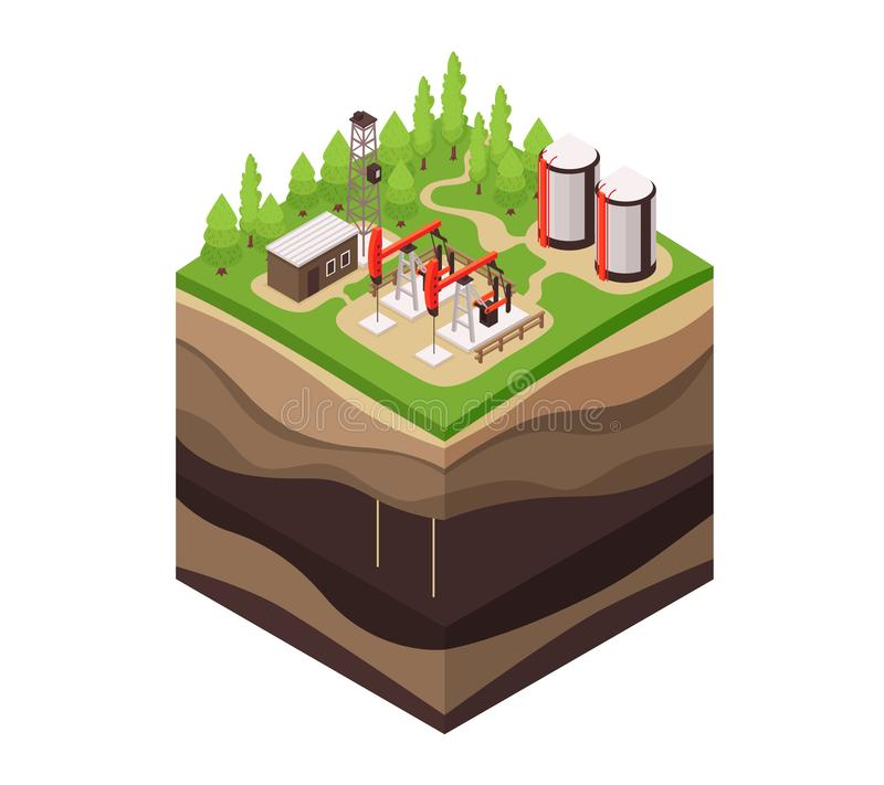Ground Layers Geology Composition. Isometric geology composition with square piece of ground drill rig and profile view of underground layers vector illustration royalty free illustration
