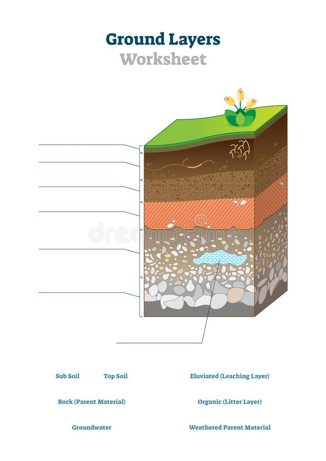 Ground layers worksheet vector illustration. Soil surface blank template. stock illustration