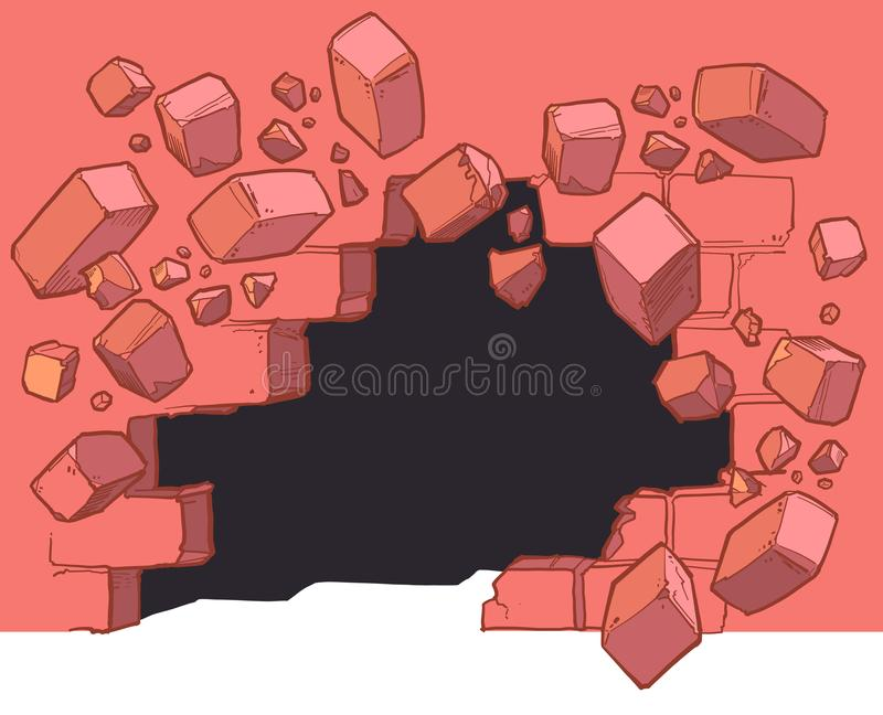 Ground Level Hole Breaking Through Red Brick Wall. Vector cartoon clip art illustration of a Ground level hole in a red brick wall breaking or exploding out and royalty free illustration