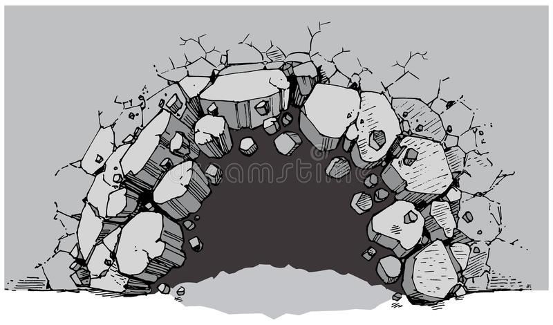 Ground Level Hole Breaking Through Wide Wall stock illustration