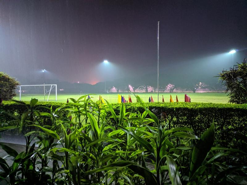 Ground in night picture with rain royalty free stock photography