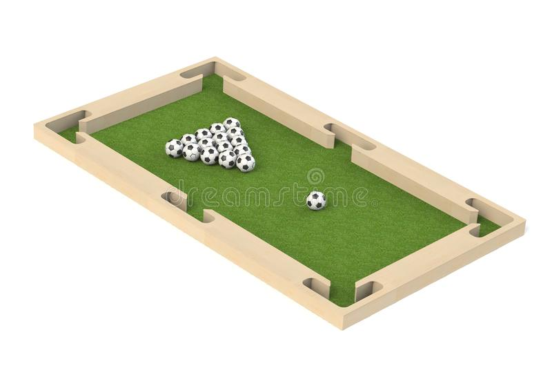 Ground pool snookball game with football balls on green grass reaching goal. 3D rendering, 3D illustration, vector illustration
