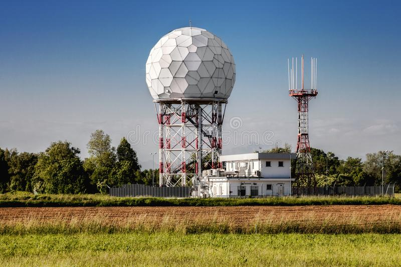 Ground Radar in airport for air traffic control stock images