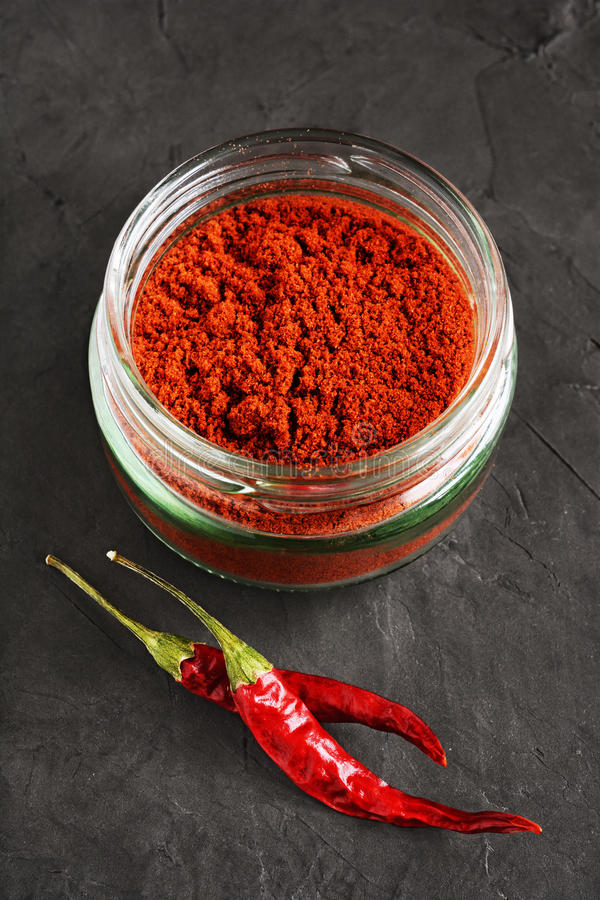 Ground red chili pepper stock image