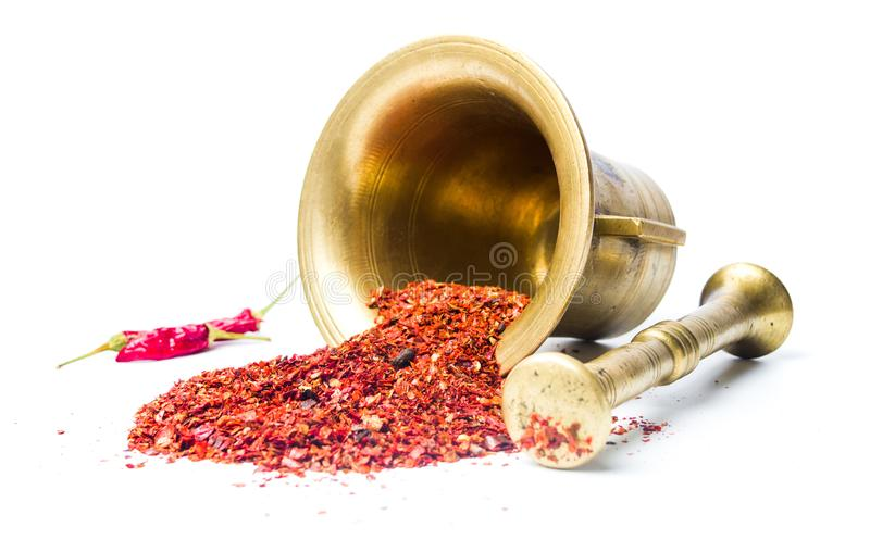 Ground red pepper and a vintage mortar. Isolated royalty free stock photography