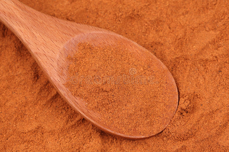 Ground red pepper in a wooden spoon stock photography