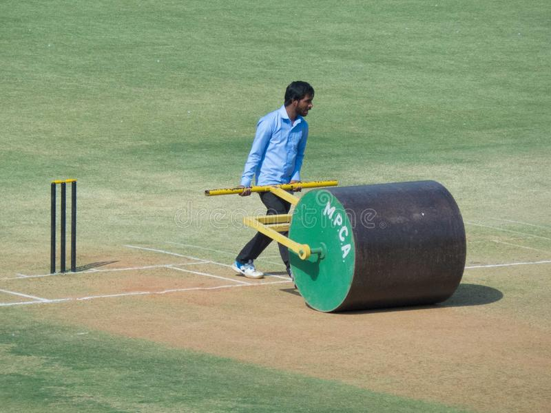Cricket Roller And Mower Stock Image Image Of Technology