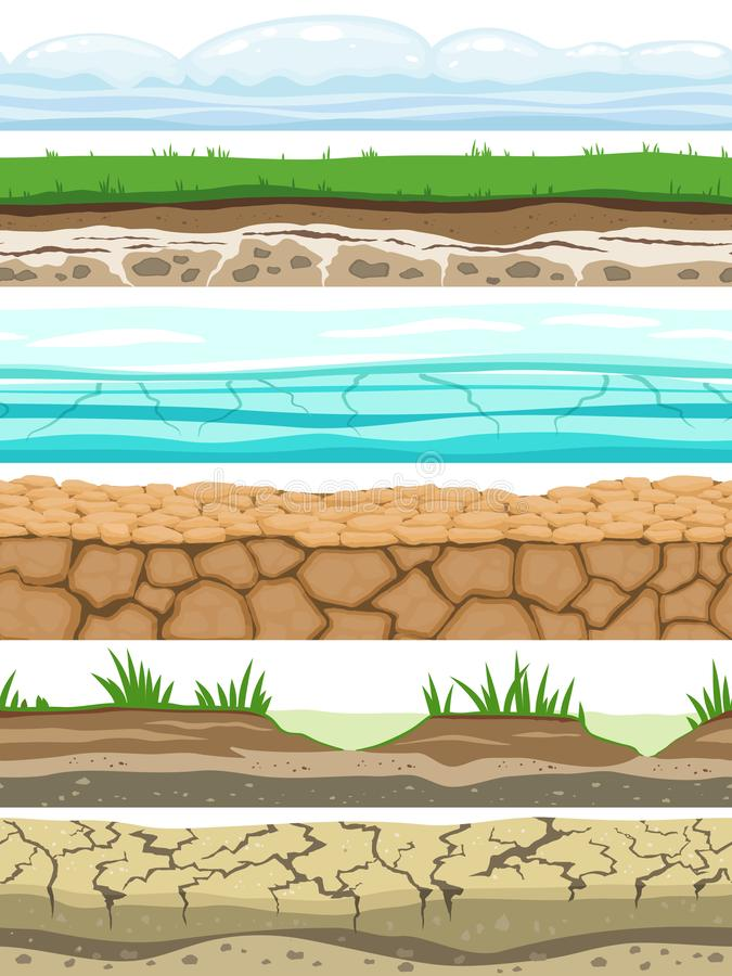 Free Ground Seamless Levels. Desert Grounded Land Soil Ice Grass Texture Water Stone Surfaces. Game Ui Vector Stock Photo - 138335260