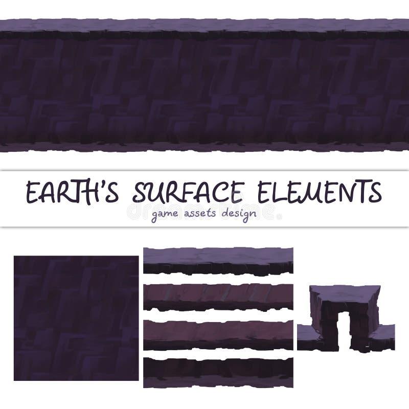 Ground seamless patterns set For Ui Game element vector illustration