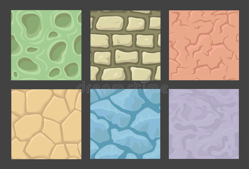 Ground seamless patterns set, vector stone. Ground seamless game patterns set, vector stone textures collection stock illustration