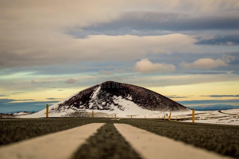 Ground shot on Icelandic Highway royalty free stock photography