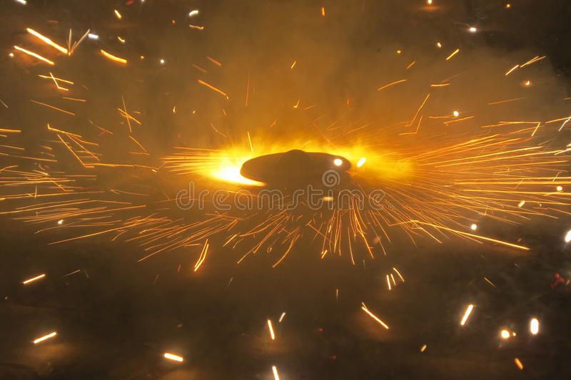 Ground spinner during Diwali time royalty free stock images