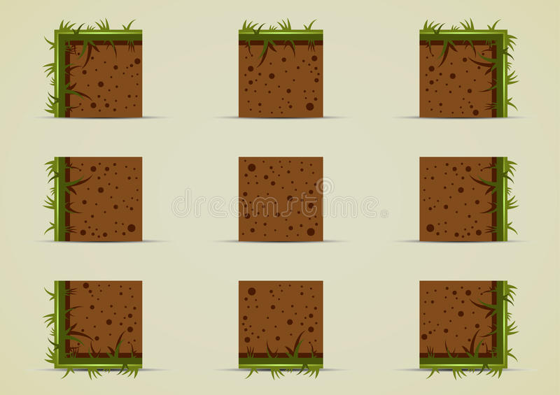 Ground sprites with grass for creating video game. Ground tile set with grass for creating video game stock illustration