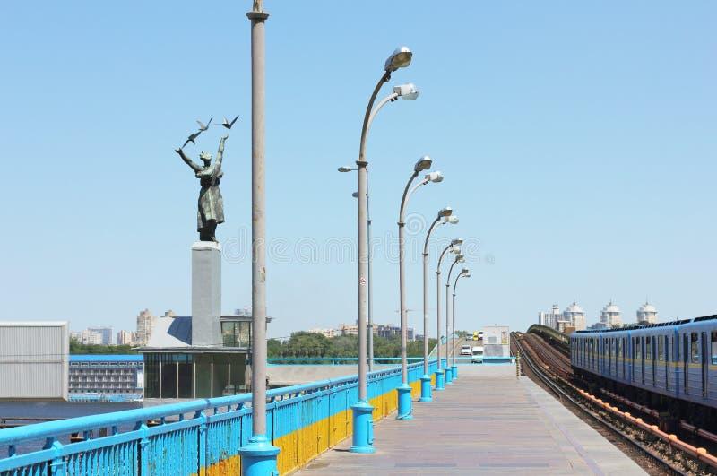 Ground subway station. Ground metro station Dnepr on the Dnieper River. Kiev stock photography