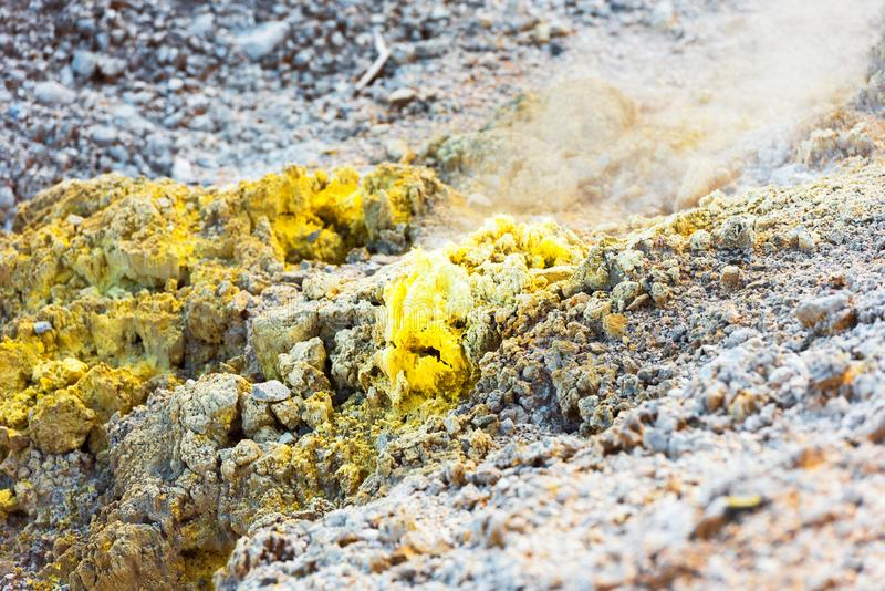 Ground texture in Wai-O-Tapu geothermal area, Rotorua, New Zealand. Close-up royalty free stock images