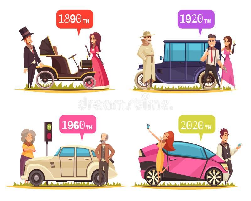 Ground Transportation Cartoon Design Concept. Human characters and ground transportation from ancient time till today cartoon design concept isolated vector vector illustration