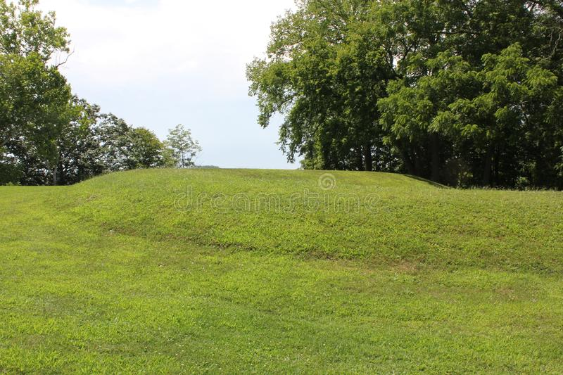 Ground view of the Coiled tail part of Serpent mound. Of Ohio, United States. This Mound was built by the Fort Ancient culture around 1070 CE. Serpent Mound is royalty free stock image