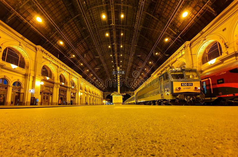Ground view of the platforms at Budapest Keleti railway station royalty free stock image
