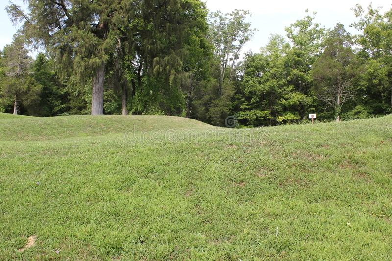 Ground View of the Serpent Mound. This is the Ground View of the Serpent Mound of Ohio, United States. This Mound was built by the Fort Ancient culture around royalty free stock image