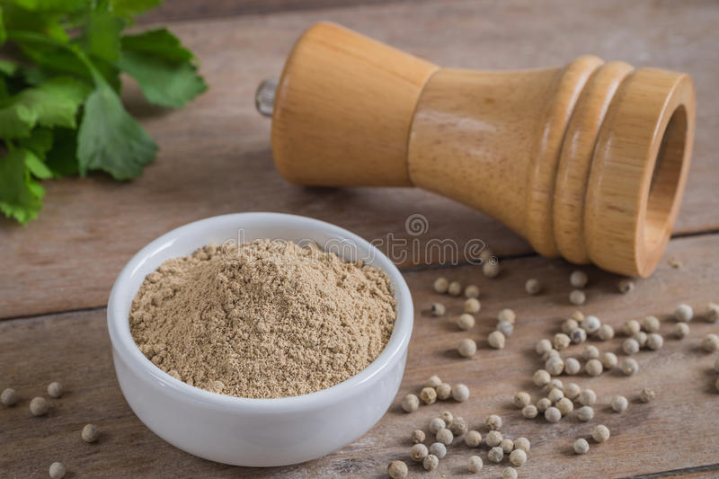 Ground white pepper in bowl and pepper shaker. Ground white pepper in white bowl and pepper shaker stock image