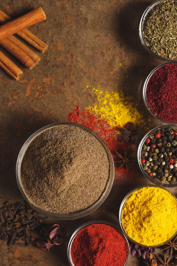 Ground White Pepper. Place for text. Different types of Spices in a bowl on a stone background. The view from the top royalty free stock images