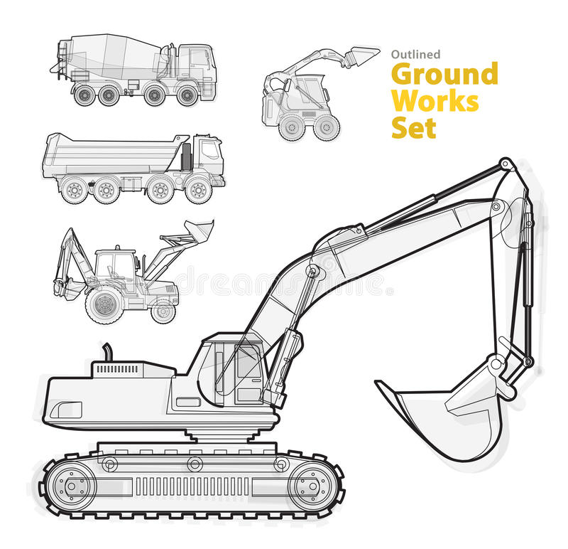 Ground works machines vehicles, black and white outlined composition. Construction machinery equipment. Big set of ground works machines vehicles, black and royalty free illustration