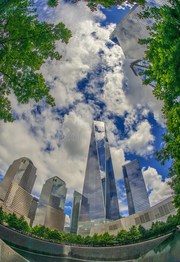 Ground Zero and One World Trade Center. Shooting location :  Manhattan, New York stock images
