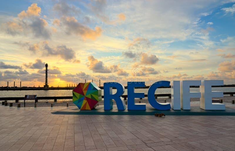 Ground Zero of Recife, Pernambuco, Brazil. Ground Zero of the city of Recife, next to Recife's Harbour, in Pernambuco, Brazil. The sun's reflections cast golden stock photo