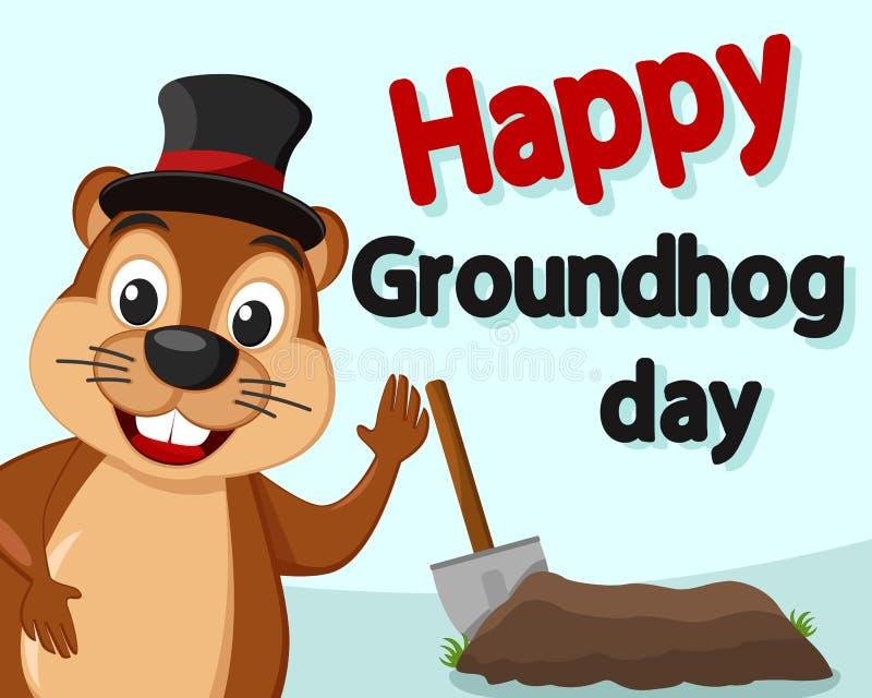 Groundhog в щелях шляпы вне усмехаясь и развевая его лапка иллюстрация штока
