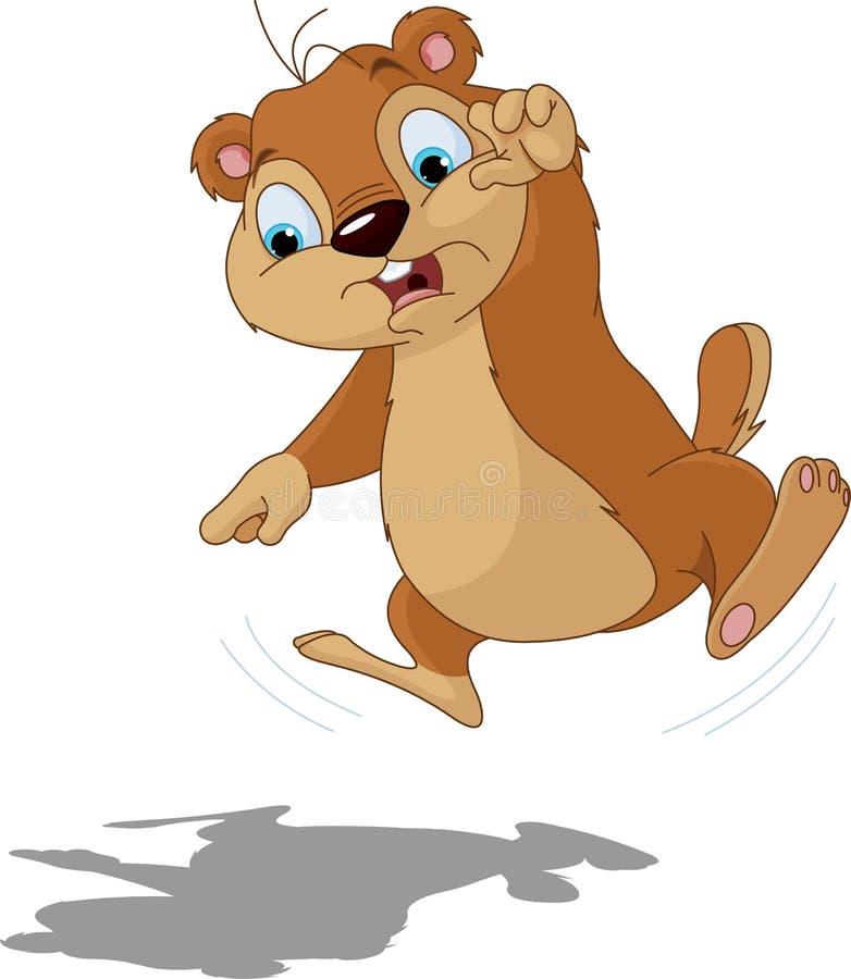 Groundhog asustó de su sombra ilustración del vector