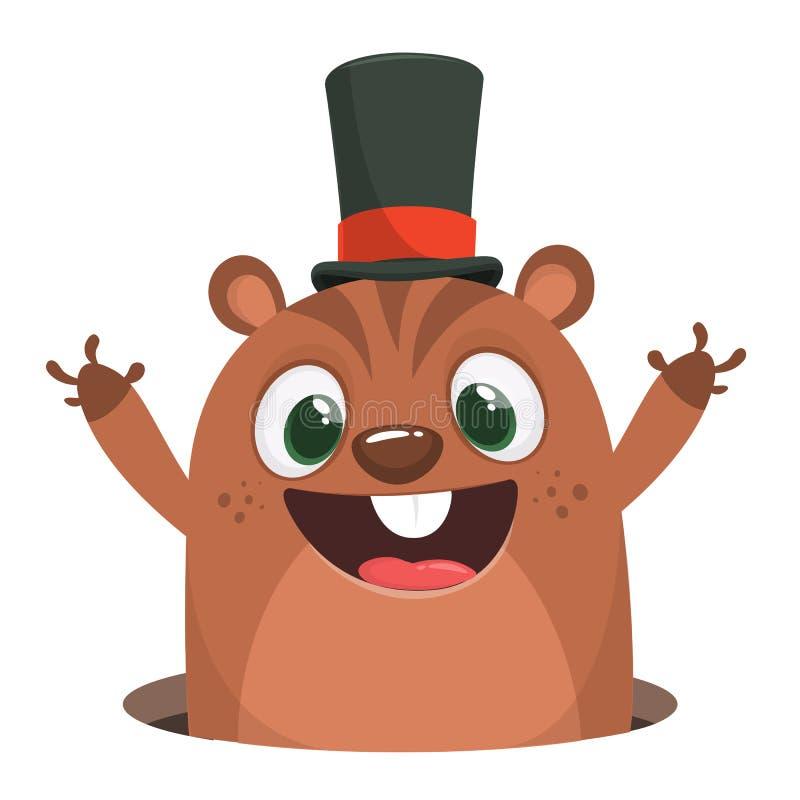 Groundhog dag 2 Februari En komisk illustration med en murmeldjurtecknad film i vinkande händer för viktig hatt stock illustrationer