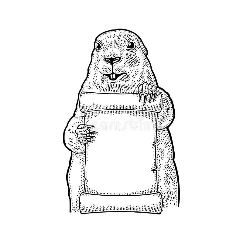 Groundhog, das Plakat hält Stichweinleseschwarzillustration vektor abbildung
