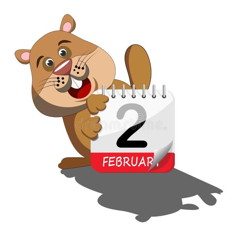 Groundhog, das seinen Schatten hinter Kalender betrachtet stock abbildung